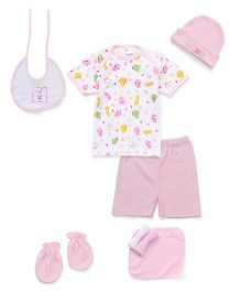 Montaly Clothing Basket Gift Set Pack Of 8 Rabbit Print - Pink White
