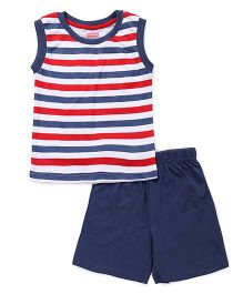 Babyhug Sleeveless Tee And Shorts Night Suit Stripe Print - Blue Red
