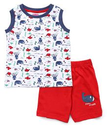 Babyhug Sleeveless T-Shirt Sea Creatures Print And Shorts - White Red
