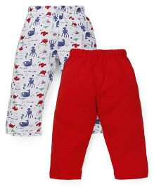 Babyhug Allover Print And Solid Color Leggings Pack Of 2 - Red & White