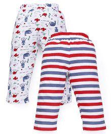 Babyhug Leggings Stripe And Fish Print Pack Of 2 - Red White
