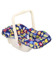 Infanto Baby Love Carry Cot Cum Rocker Teddy and Flower Print - Royal Blue