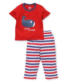 Babyhug Half Sleeves Night Wear Whale Patch - Red