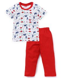 Babyhug Half Sleeves T-Shirt & Bottom Set Whale Print - Red White