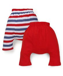 Babyhug Diaper Leggings Pack of 2 - Red White Blue
