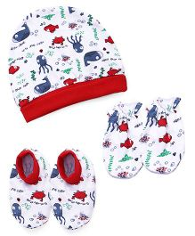 Babyhug Printed Cap Mittens And Booties Set - White Red