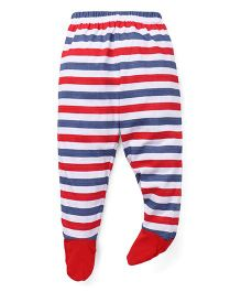 Babyhug Bootie Leggings Stripes Print - Red Blue White