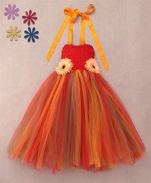 Pari Creations Sunflower Applique Gown & Headband - Red