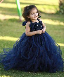 Pari Creations Party Wear Gown & Headband - Navy Blue