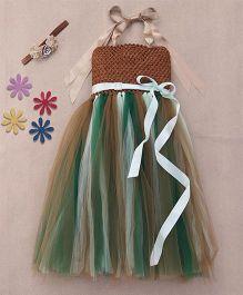 Pari Creations Stylish Halter Tie Up Gown & Headband - Brown & Green