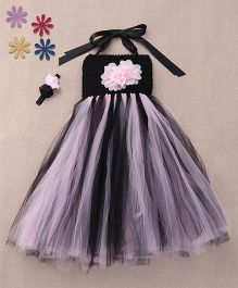 Pari Creations Party Wear Gown With Headband - Pink & Black