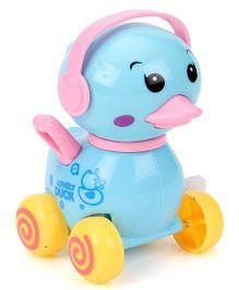 Duck Wind Up Toy On Wheels - Sky Blue