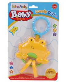 Froggy Face Clip On Toy Baby Rattle - Yellow