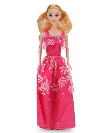 Doll With Printed Dress Pink - 29 cm