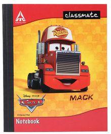 Disney Pixar Cars Classmate Notebook Single Line Ruling - 92 Pages