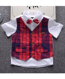 Lil Mantra Tartan Print Fake Two Piece Shirt With Bow - Red & White