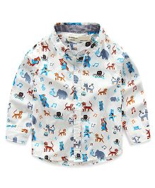 Pre Order - Lil Mantra Party Animals Print Shirt - White