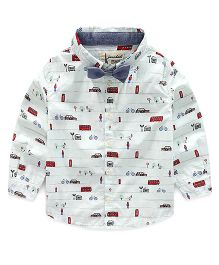Lil Mantra Roadside Print Shirt - White & Red