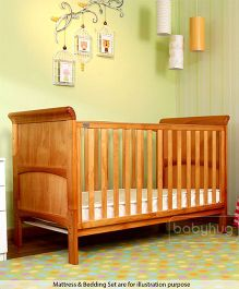 Babyhug Aspen Wooden Cot - Natural