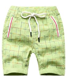 Pre order - Lil Mantra Checkered Shorts With Tie Up - Green