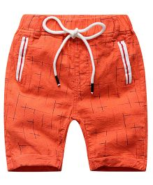 Pre order - Lil Mantra Checkered Shorts With Tie Up - Orange