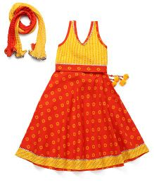 Exclusive from Jaipur Sleeveless Designer Lehenga Choli And Dupatta - Yellow Orange