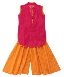 Exclusive From Jaipur Sleeveless Kurti & Palazzo Set - Pink And Orange