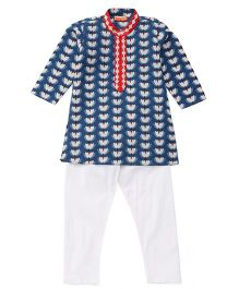 Exclusive from Jaipur Kurta Pajama Set - Blue White
