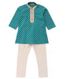 Exclusive from Jaipur Kurta Pajama Set - Sea Green And Cream