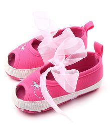 Dazzling Dolls Baby Peep Toes With Bow - Pink