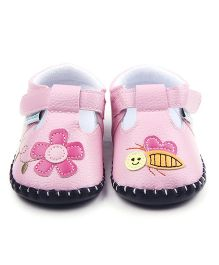 Dazzling Dolls Flower N Bee Soft Leather Shoes - Pink