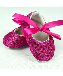 Dazzling Dolls Glittery Baby Crib Shoes - Fuschia