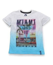 Vitamins Half Sleeves T-Shirt Miami Print - Light Blue And White
