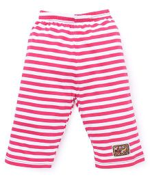 Bodycare Stripes Capri Leggings With Patch - Pink & White