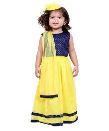Chuubby Cheeks Sleeveless Choli Lehenga With Dupatta - Yellow Blue