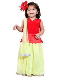 Chubby Cheeks Classic Sleeveless Choli Lehenga With Dupatta - Red Green