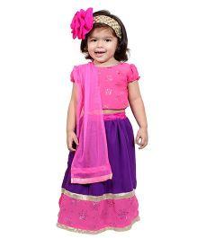Chubby Cheeks Puff Sleeves Floral Design Choli Lehenga With Dupatta -  Pink Purple