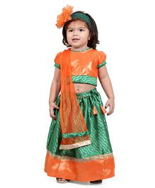 Chubby Cheeks Puff Sleeves Leheriya Design Choli Lehenga With Dupatta -  Orange Green