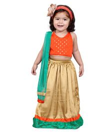 Chubby Cheeks Self Design Halter Neck Choli With Lehenga And Dupatta - Orange Golden Green