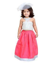 Chubby Cheeks Sequins Top And Lehenga - Pink White