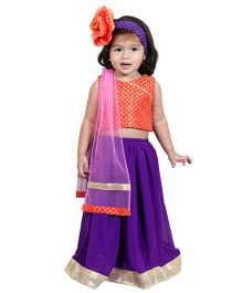 Chubby Cheeks Sleeveless Self Design Choli And Lehenga - Red Purple