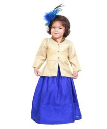 Chubby Cheeks Full Sleeves Kurti And Lehenga - Royal Blue Golden 12(0-6 months) dupion silk
