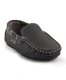 Kittens Shoes Slip On Loafers Stitch Detailing - Dark Brown