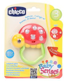 Chicco Polka Dot Lady Bird Lights Rattle - Green Red & Yellow