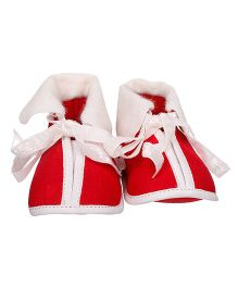 Bootie Pie Tie Up Closure Santa Style Booties - Red White