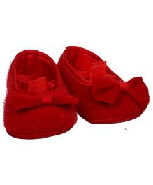Bootie Pie Belly Shoes Style Booties Bow Applique - Red