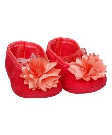Bootie Pie Belly Shoes Style Booties Flower Applique - Red Light Orange