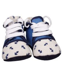 Bootie Pie Shoes Style Booties Anchor Design - Blue White