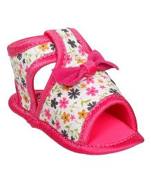 Bootie Pie Sandals Style Booties Bow Applique - White Pink