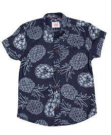 LOL Half Sleeves Shirt Pineapple Print - Blue